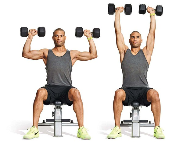 Dumbbell Forward to Overhead Press with Shuffle