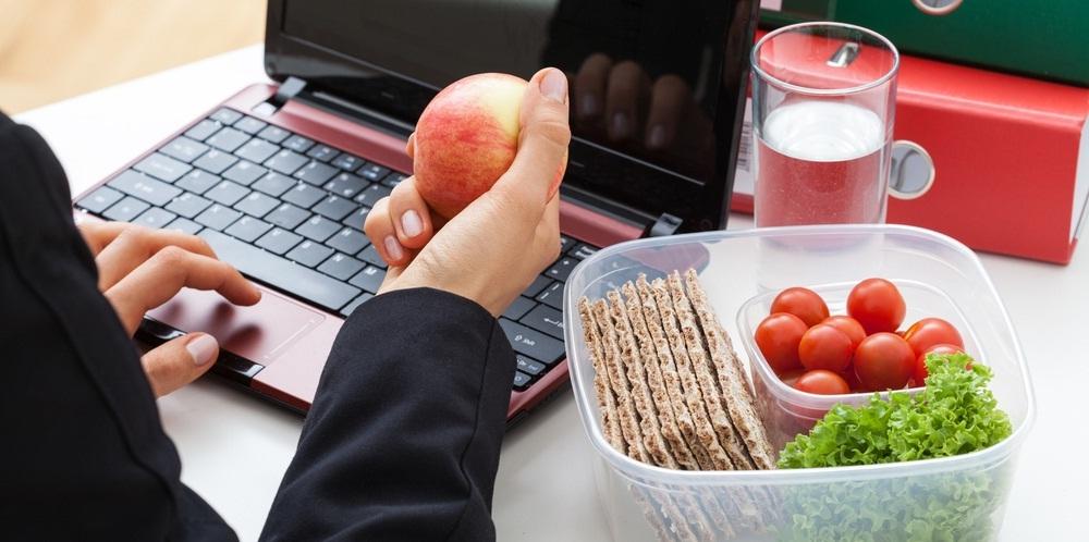 eating snacks in office - nut tutter