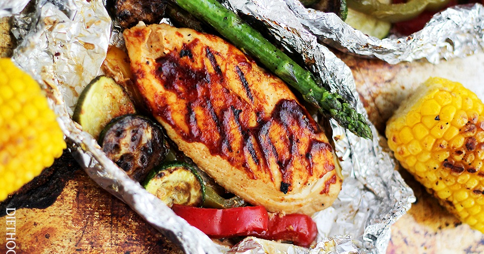 Barbecued Chicken, Sweet Potato, and Asparagus