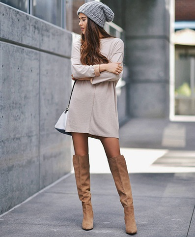 T Shirt Dress With Boots