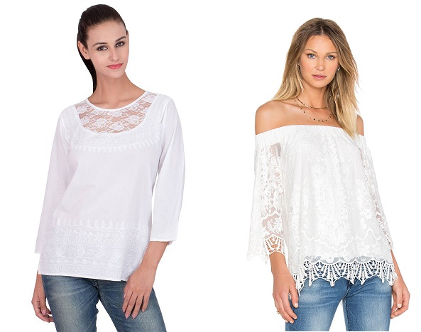 White lace tops for women