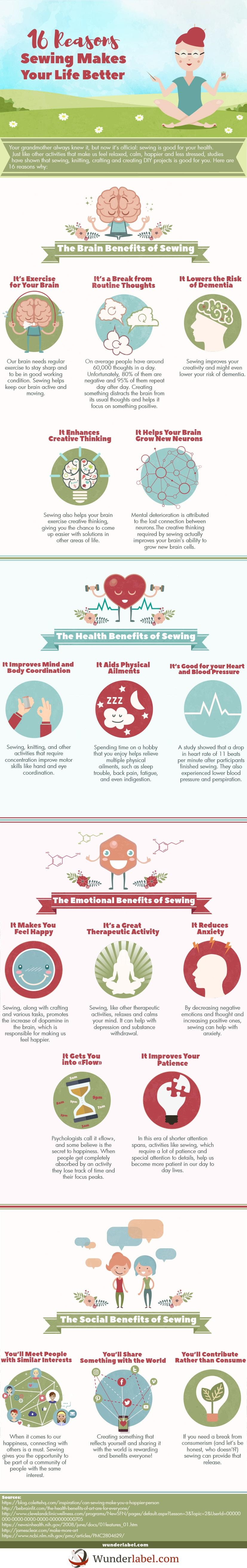 Health Benefits of Sewing Infographic