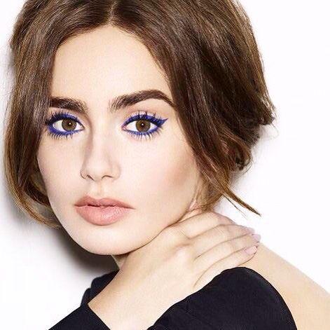blue eyeliner Valentines makeup