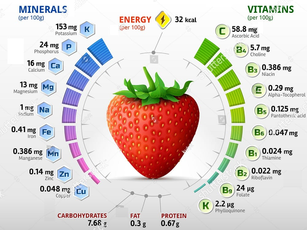 Nutritional content of strawberries